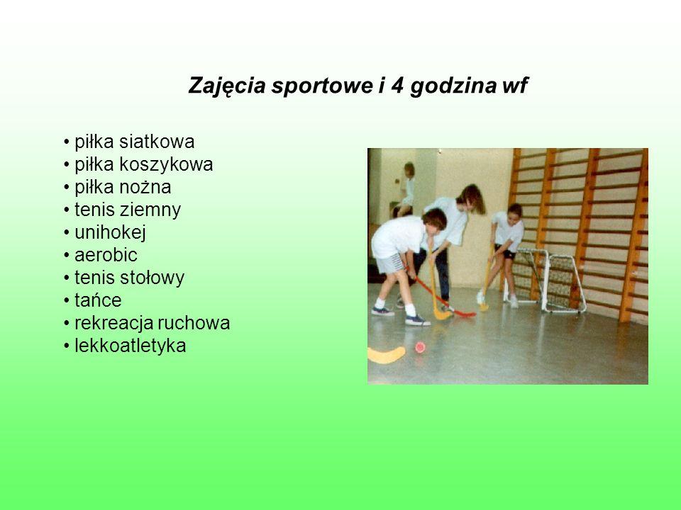 Zajęcia sportowe i 4 godzina wf piłka siatkowa piłka koszykowa piłka nożna tenis ziemny unihokej aerobic tenis stołowy tańce rekreacja ruchowa lekkoatletyka