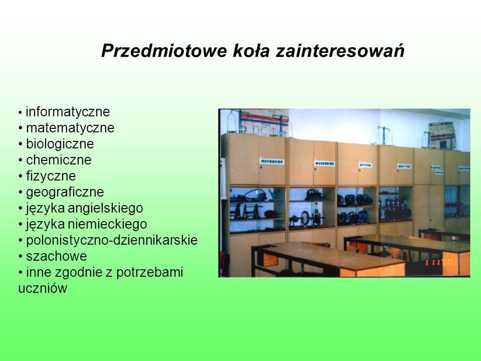 Przedmiotowe koła zainteresowań informatyczne matematyczne biologiczne chemiczne fizyczne geograficzne języka angielskiego języka niemieckiego polonistyczno-dziennikarskie szachowe inne zgodnie z potrzebami uczniów