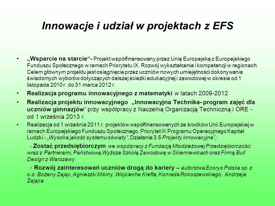"""Innowacje i udział w projektach z EFS """"Wsparcie na starcie - Projekt współfinansowany przez Unię Europejską z Europejskiego Funduszu Społecznego w ramach Priorytetu IX."""