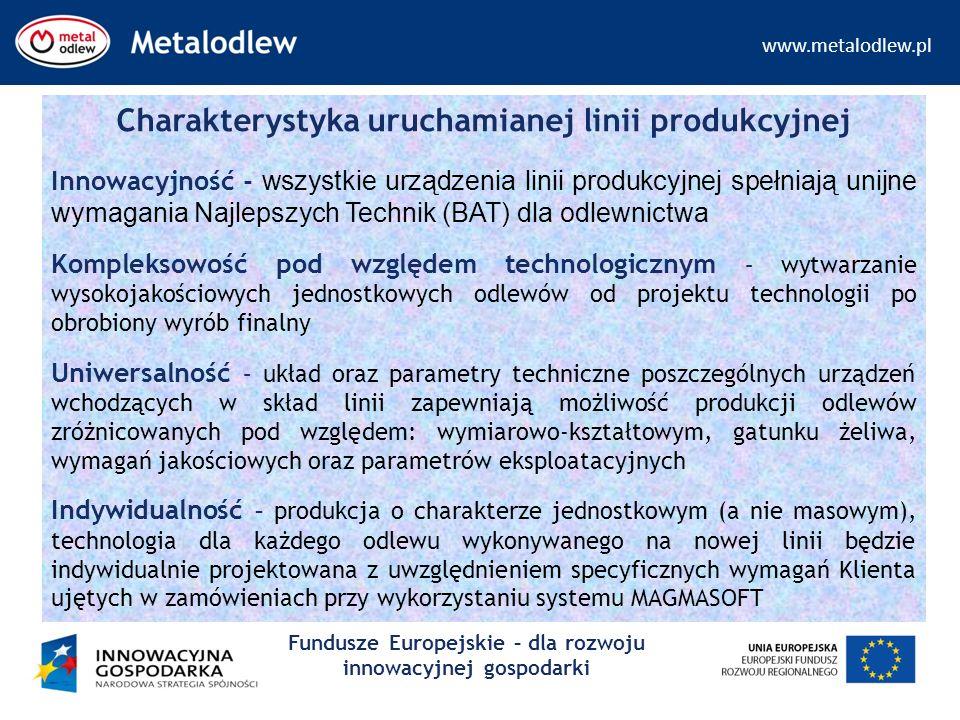 www.metalodlew.pl Fundusze Europejskie – dla rozwoju innowacyjnej gospodarki Charakterystyka uruchamianej linii produkcyjnej Innowacyjność - wszystkie