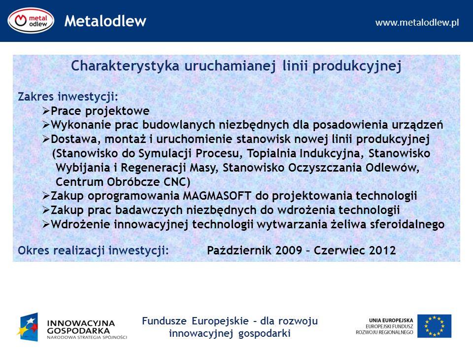 www.metalodlew.pl Fundusze Europejskie – dla rozwoju innowacyjnej gospodarki Charakterystyka uruchamianej linii produkcyjnej Zakres inwestycji:  Prac