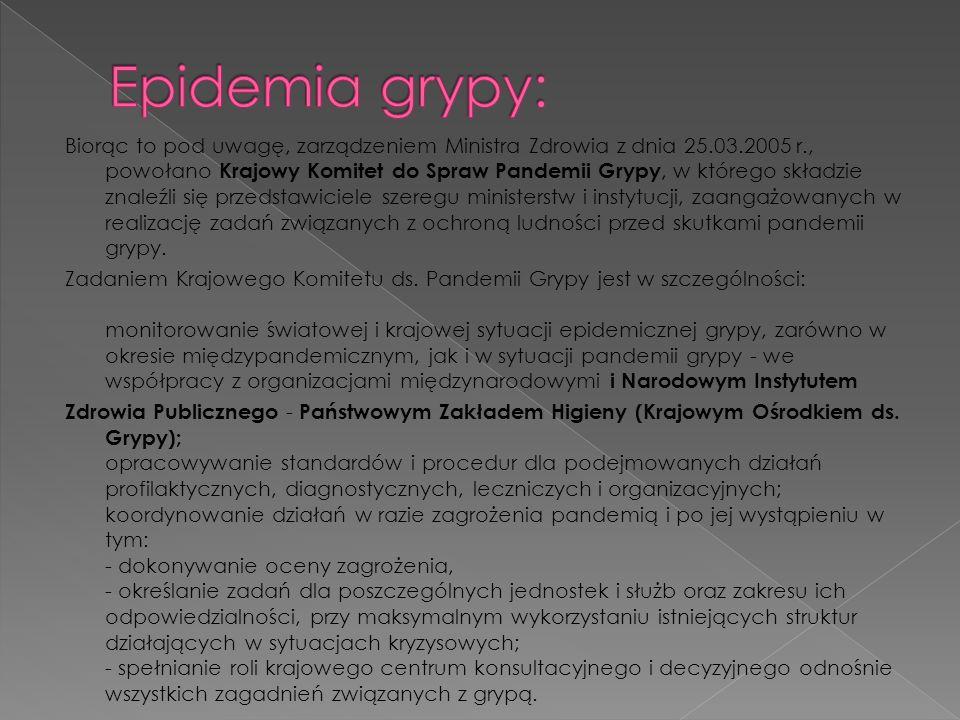 Biorąc to pod uwagę, zarządzeniem Ministra Zdrowia z dnia 25.03.2005 r., powołano Krajowy Komitet do Spraw Pandemii Grypy, w którego składzie znaleźli