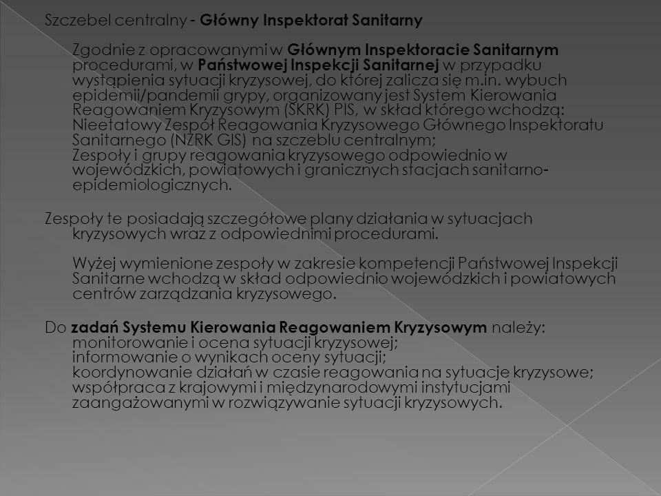 Szczebel centralny - Główny Inspektorat Sanitarny Zgodnie z opracowanymi w Głównym Inspektoracie Sanitarnym procedurami, w Państwowej Inspekcji Sanita