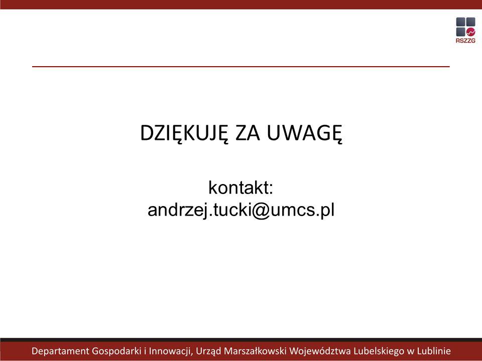 DZIĘKUJĘ ZA UWAGĘ kontakt: andrzej.tucki@umcs.pl