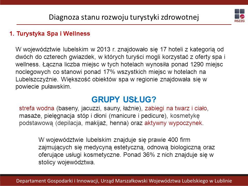 1. Turystyka Spa i Wellness Diagnoza stanu rozwoju turystyki zdrowotnej W województwie lubelskim w 2013 r. znajdowało się 17 hoteli z kategorią od dwó