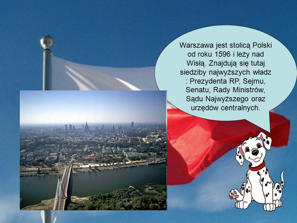 Warszawa jest stolicą Polski od roku 1596 i leży nad Wisłą.