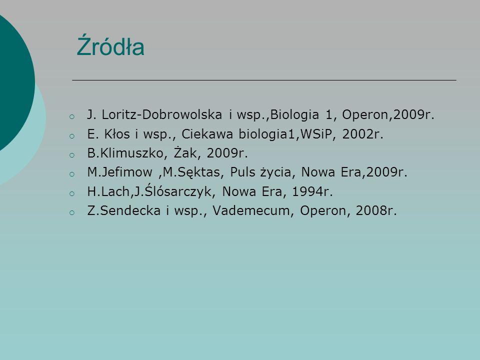 Źródła o J. Loritz-Dobrowolska i wsp.,Biologia 1, Operon,2009r.