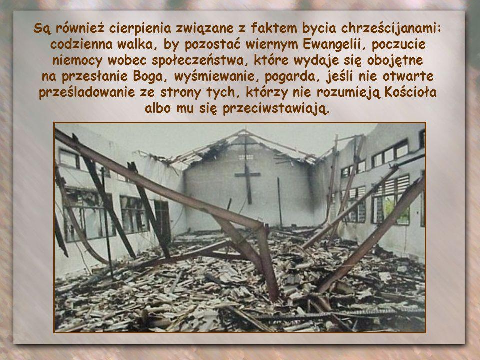 Są również cierpienia związane z faktem bycia chrześcijanami: codzienna walka, by pozostać wiernym Ewangelii, poczucie niemocy wobec społeczeństwa, które wydaje się obojętne na przesłanie Boga, wyśmiewanie, pogarda, jeśli nie otwarte prześladowanie ze strony tych, którzy nie rozumieją Kościoła albo mu się przeciwstawiają.