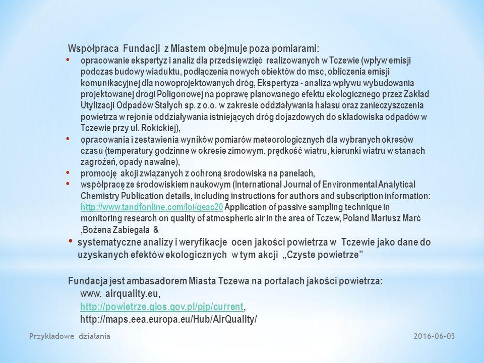 Współpraca Fundacji z Miastem obejmuje poza pomiarami: opracowanie ekspertyz i analiz dla przedsięwzięć realizowanych w Tczewie (wpływ emisji podczas