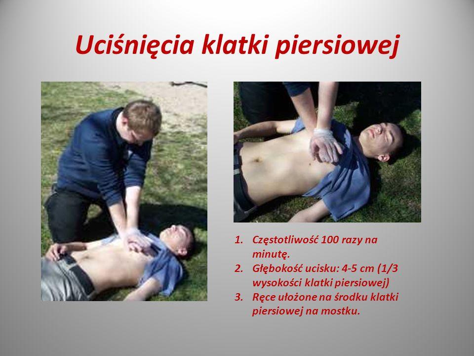 Uciśnięcia klatki piersiowej 1.Częstotliwość 100 razy na minutę.