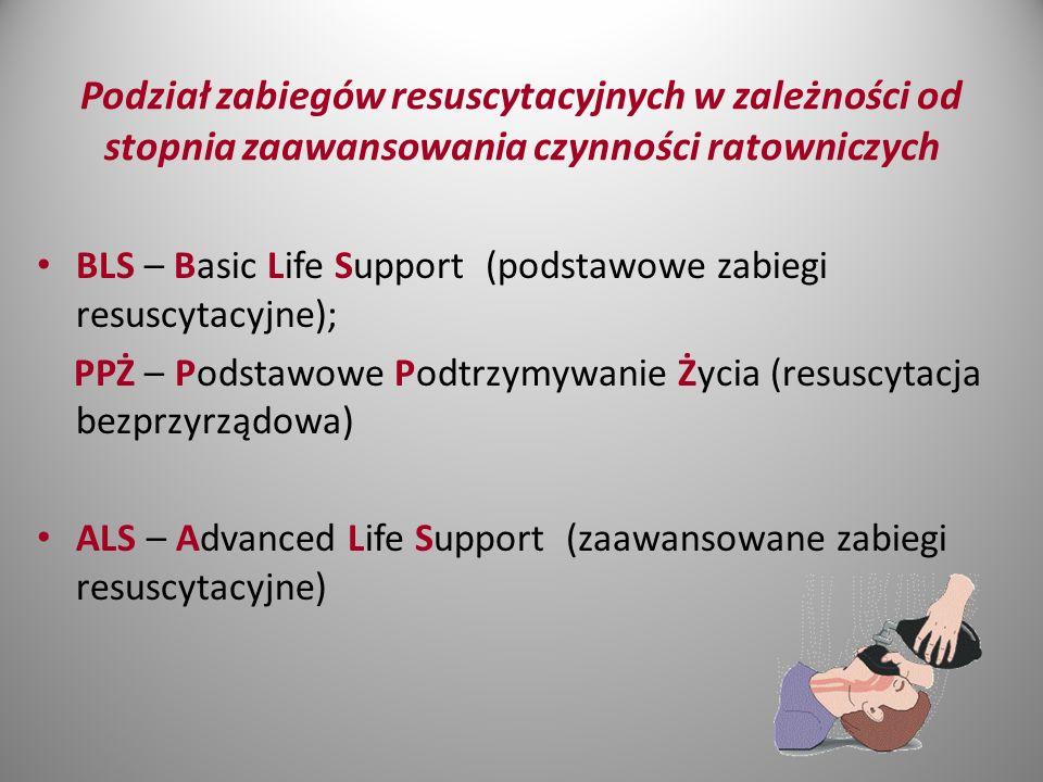 Podział zabiegów resuscytacyjnych w zależności od stopnia zaawansowania czynności ratowniczych BLS – Basic Life Support (podstawowe zabiegi resuscytacyjne); PPŻ – Podstawowe Podtrzymywanie Życia (resuscytacja bezprzyrządowa) ALS – Advanced Life Support (zaawansowane zabiegi resuscytacyjne)