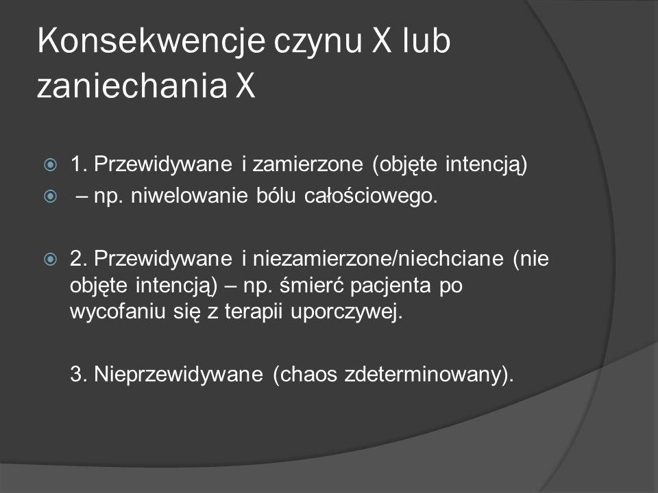 Konsekwencje czynu X lub zaniechania X  1. Przewidywane i zamierzone (objęte intencją)  – np.