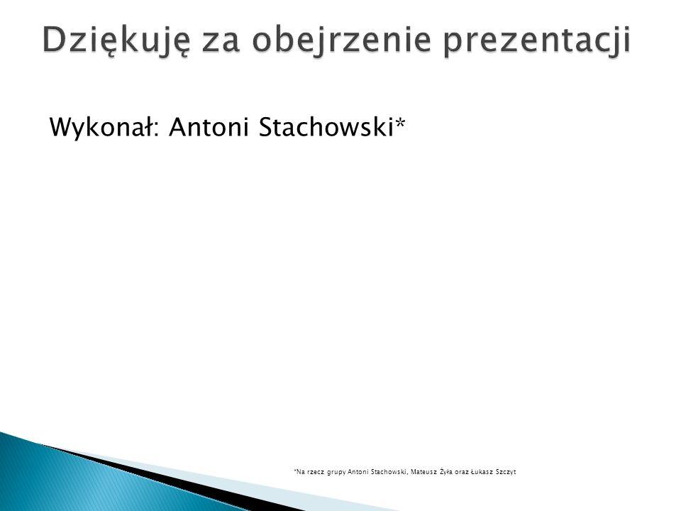 Wykonał: Antoni Stachowski* *Na rzecz grupy Antoni Stachowski, Mateusz Żyła oraz Łukasz Szczyt
