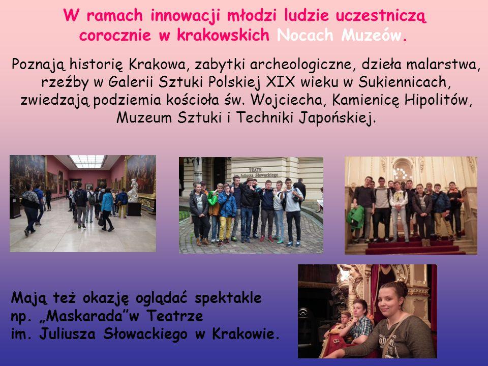 W ramach innowacji młodzi ludzie uczestniczą corocznie w krakowskich Nocach Muzeów.