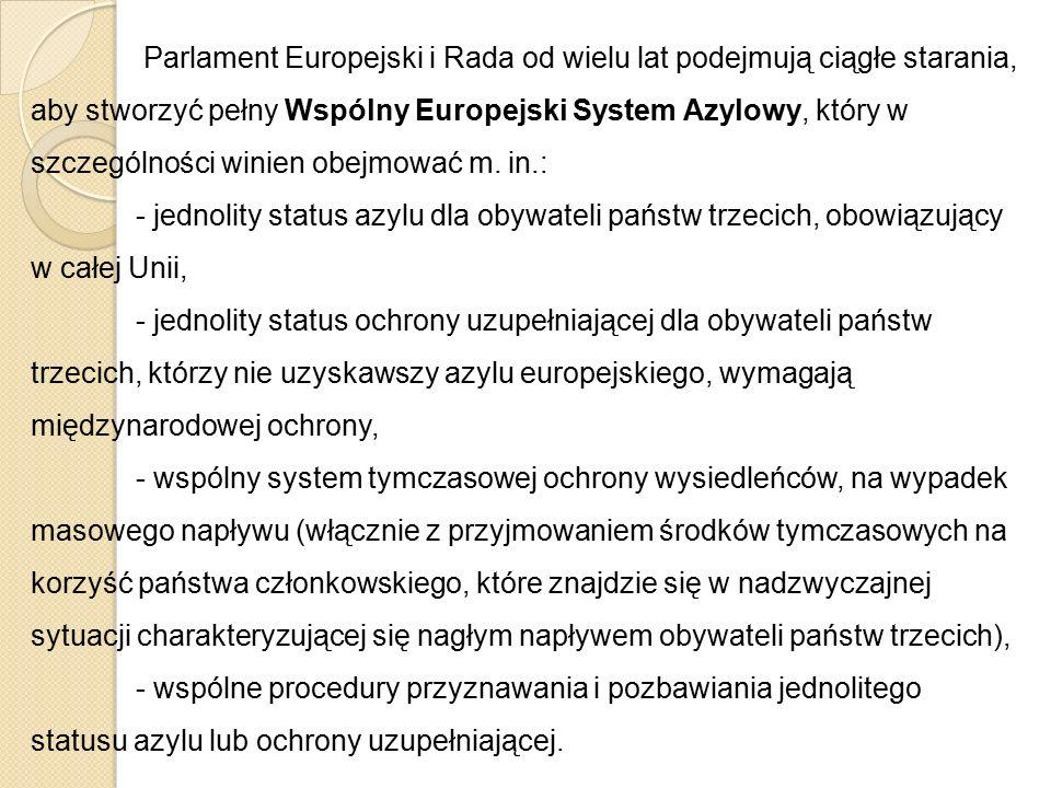 Parlament Europejski i Rada od wielu lat podejmują ciągłe starania, aby stworzyć pełny Wspólny Europejski System Azylowy, który w szczególności winien