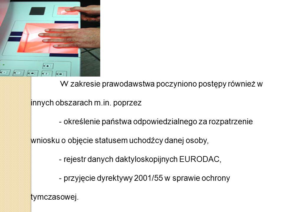 W zakresie prawodawstwa poczyniono postępy również w innych obszarach m.in. poprzez - określenie państwa odpowiedzialnego za rozpatrzenie wniosku o ob