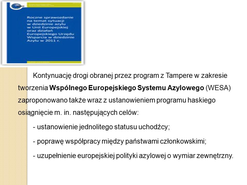 Kontynuację drogi obranej przez program z Tampere w zakresie tworzenia Wspólnego Europejskiego Systemu Azylowego (WESA) zaproponowano także wraz z ust