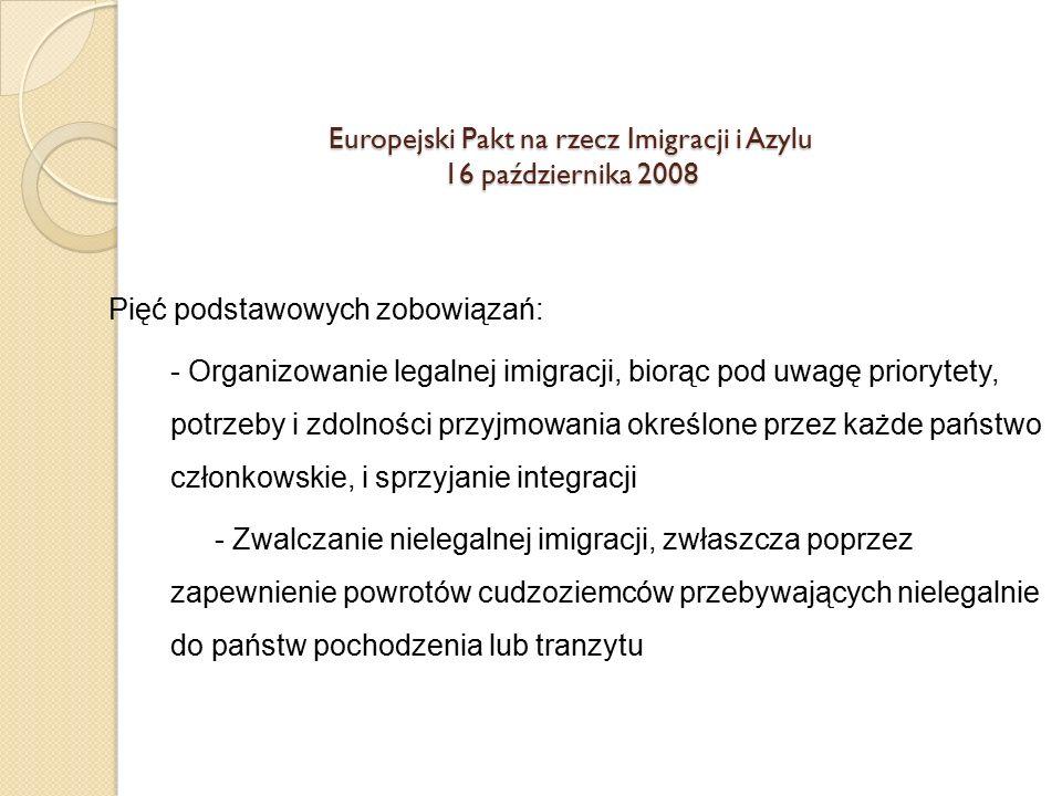 Europejski Pakt na rzecz Imigracji i Azylu 16 października 2008 Pięć podstawowych zobowiązań: - Organizowanie legalnej imigracji, biorąc pod uwagę pri