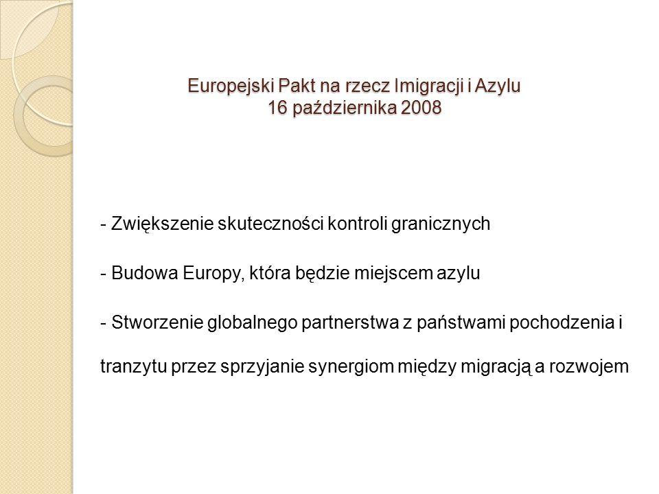 Europejski Pakt na rzecz Imigracji i Azylu 16 października 2008 - Zwiększenie skuteczności kontroli granicznych - Budowa Europy, która będzie miejscem