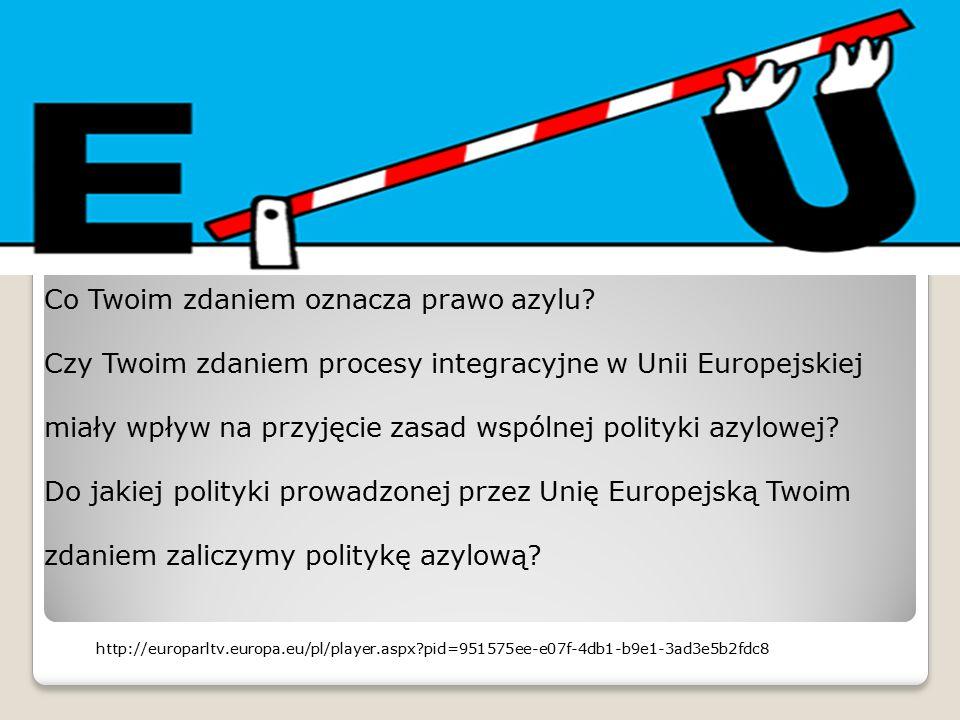 Co Twoim zdaniem oznacza prawo azylu? Czy Twoim zdaniem procesy integracyjne w Unii Europejskiej miały wpływ na przyjęcie zasad wspólnej polityki azyl