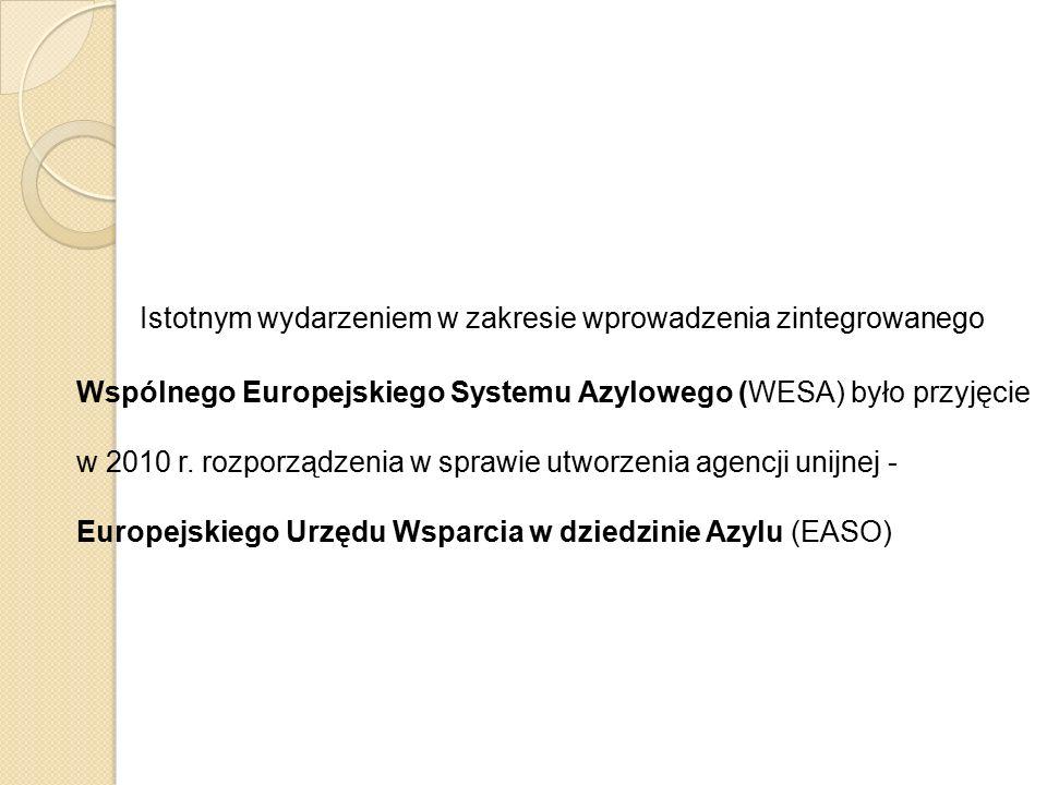 Istotnym wydarzeniem w zakresie wprowadzenia zintegrowanego Wspólnego Europejskiego Systemu Azylowego (WESA) było przyjęcie w 2010 r. rozporządzenia w