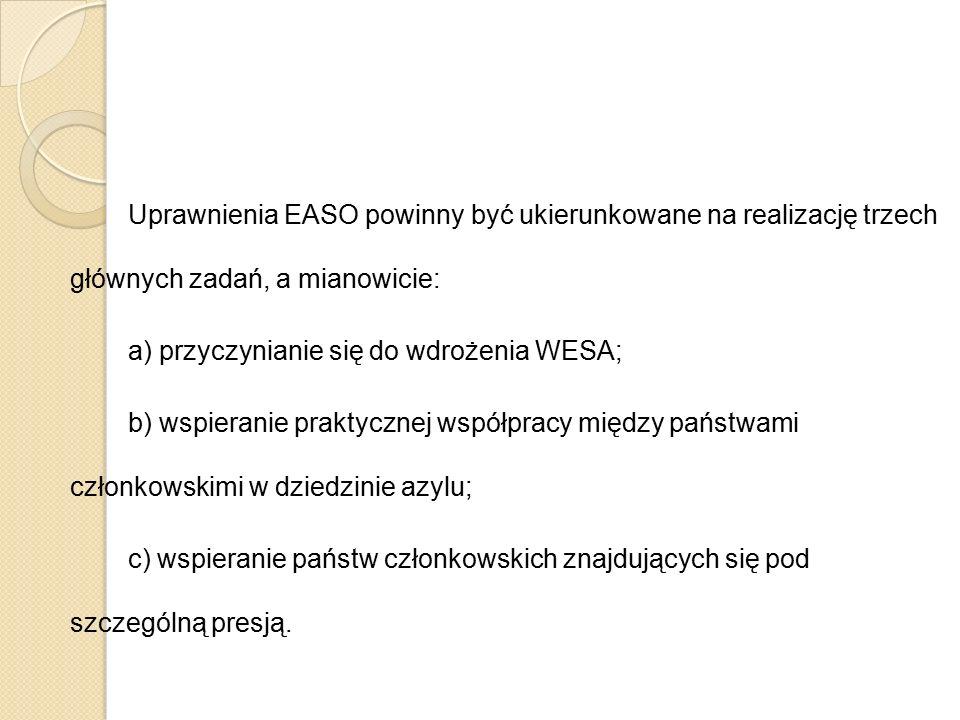 Uprawnienia EASO powinny być ukierunkowane na realizację trzech głównych zadań, a mianowicie: a) przyczynianie się do wdrożenia WESA; b) wspieranie pr