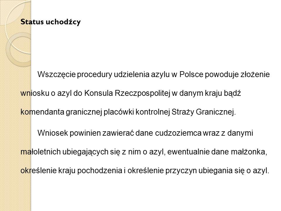 Status uchodźcy Wszczęcie procedury udzielenia azylu w Polsce powoduje złożenie wniosku o azyl do Konsula Rzeczpospolitej w danym kraju bądź komendant