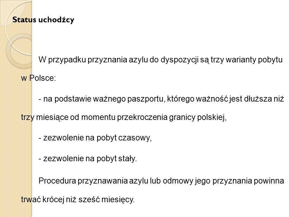 Status uchodźcy W przypadku przyznania azylu do dyspozycji są trzy warianty pobytu w Polsce: - na podstawie ważnego paszportu, którego ważność jest dł