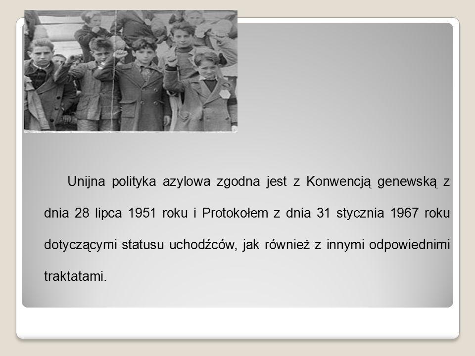 Unijna polityka azylowa zgodna jest z Konwencją genewską z dnia 28 lipca 1951 roku i Protokołem z dnia 31 stycznia 1967 roku dotyczącymi statusu uchod