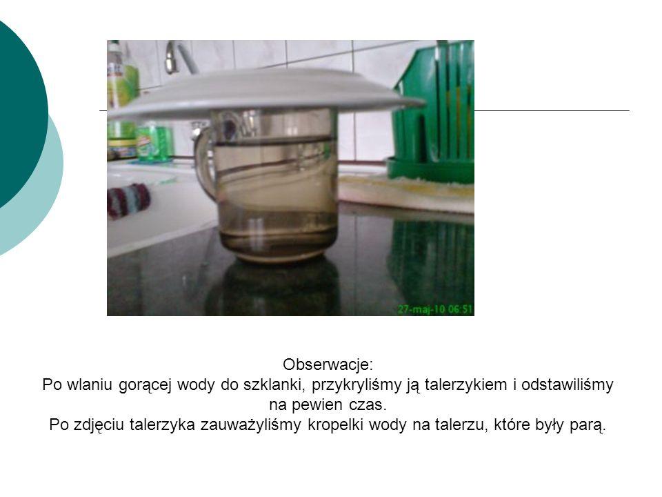 Obserwacje: Po wlaniu gorącej wody do szklanki, przykryliśmy ją talerzykiem i odstawiliśmy na pewien czas.