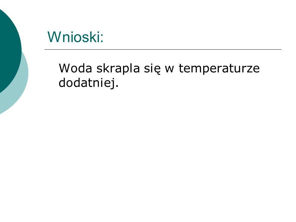 Wnioski: Woda skrapla się w temperaturze dodatniej.