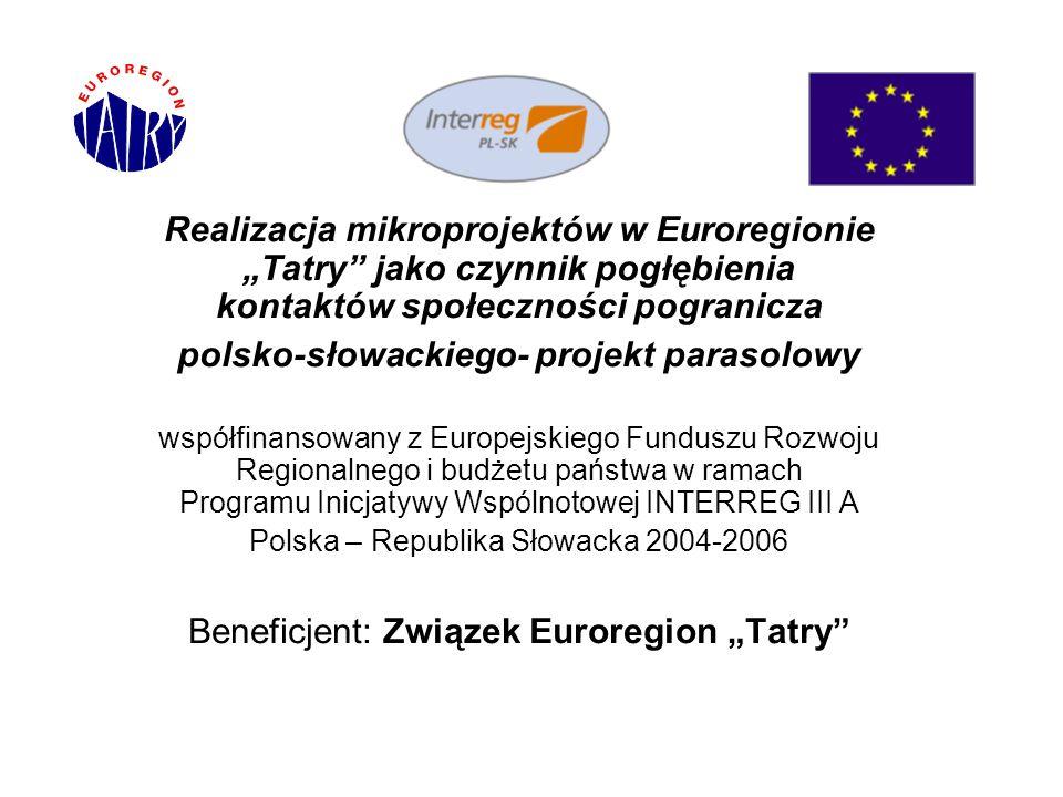 """Realizacja mikroprojektów w Euroregionie """"Tatry"""" jako czynnik pogłębienia kontaktów społeczności pogranicza polsko-słowackiego- projekt parasolowy wsp"""