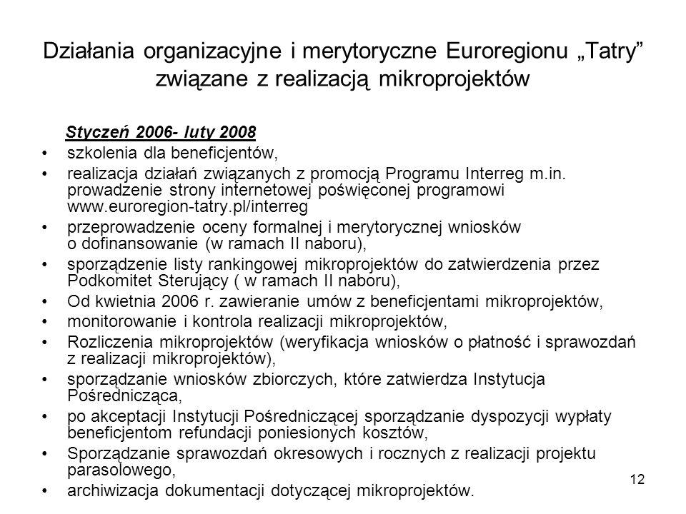 """12 Działania organizacyjne i merytoryczne Euroregionu """"Tatry"""" związane z realizacją mikroprojektów Styczeń 2006- luty 2008 szkolenia dla beneficjentów"""