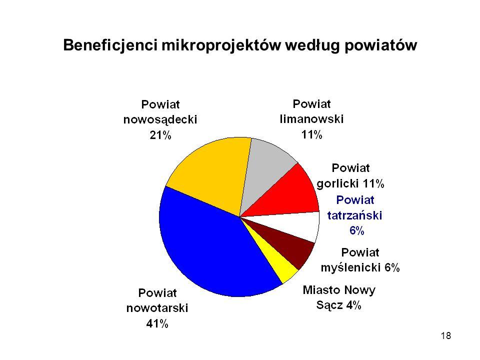 18 Beneficjenci mikroprojektów według powiatów