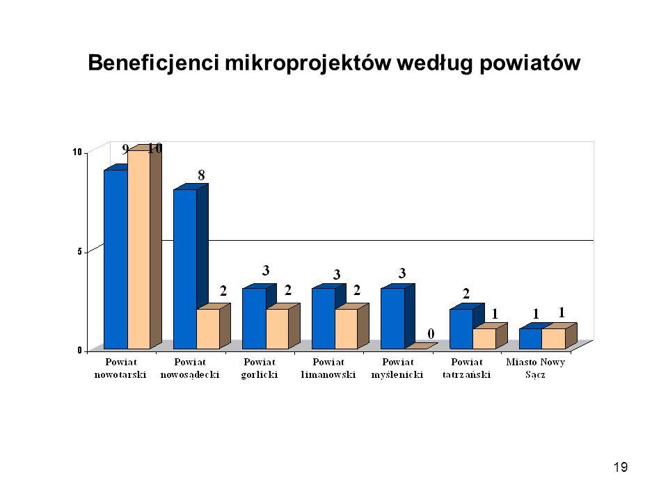 19 Beneficjenci mikroprojektów według powiatów