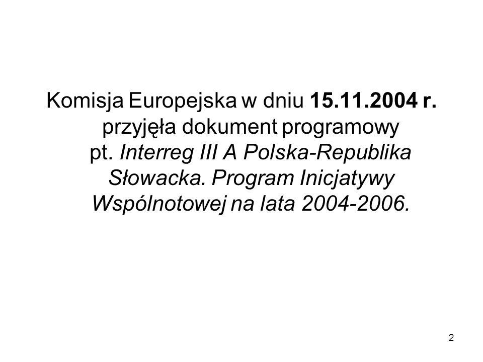 2 Komisja Europejska w dniu 15.11.2004 r. przyjęła dokument programowy pt. Interreg III A Polska-Republika Słowacka. Program Inicjatywy Wspólnotowej n