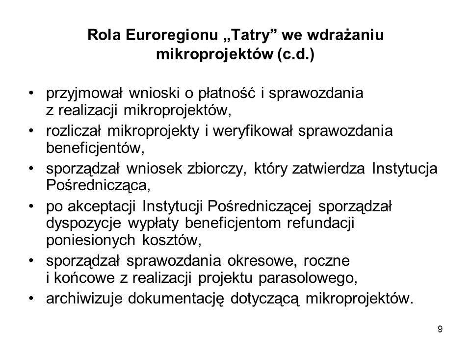 """9 Rola Euroregionu """"Tatry"""" we wdrażaniu mikroprojektów (c.d.) przyjmował wnioski o płatność i sprawozdania z realizacji mikroprojektów, rozliczał mikr"""