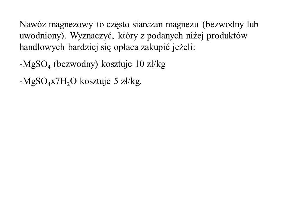 Nawóz magnezowy to często siarczan magnezu (bezwodny lub uwodniony).
