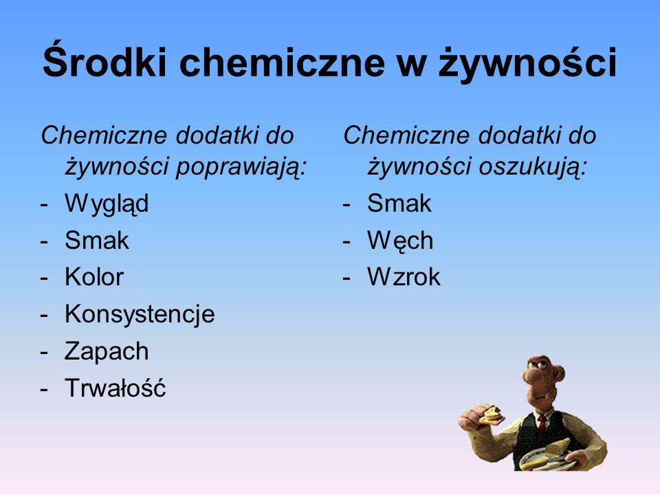 Środki chemiczne w żywności Chemiczne dodatki do żywności poprawiają: -Wygląd -Smak -Kolor -Konsystencje -Zapach -Trwałość Chemiczne dodatki do żywnoś