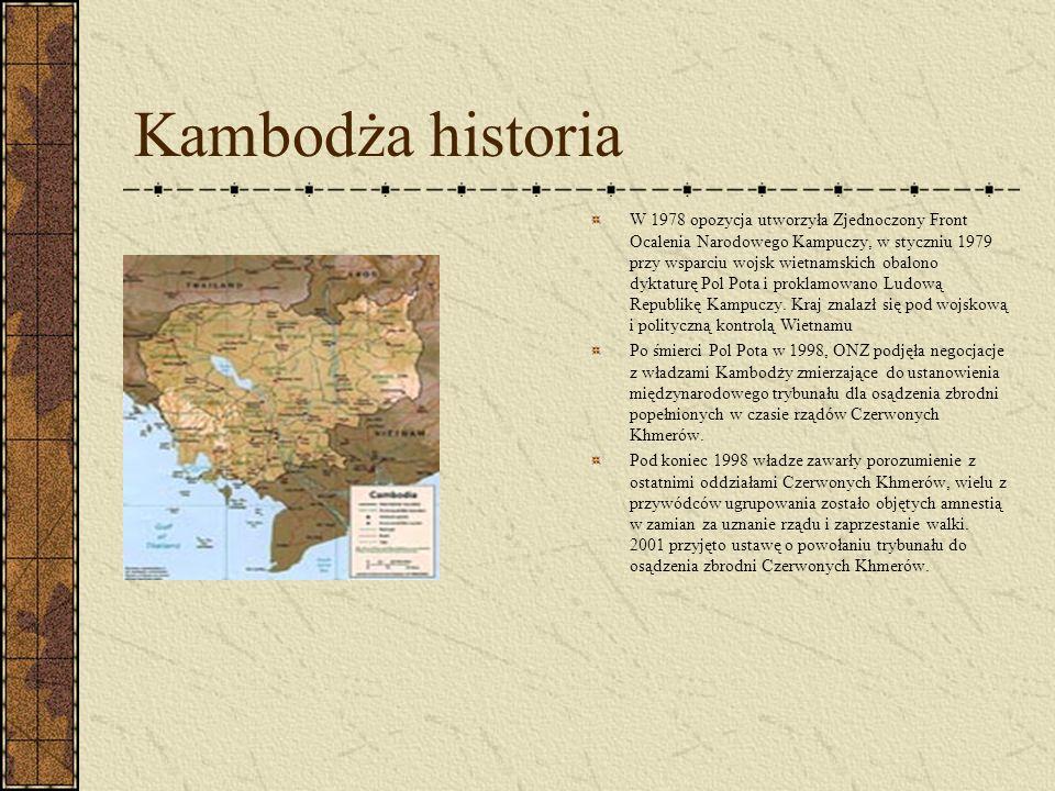 Kambodża historia W 1978 opozycja utworzyła Zjednoczony Front Ocalenia Narodowego Kampuczy, w styczniu 1979 przy wsparciu wojsk wietnamskich obalono d
