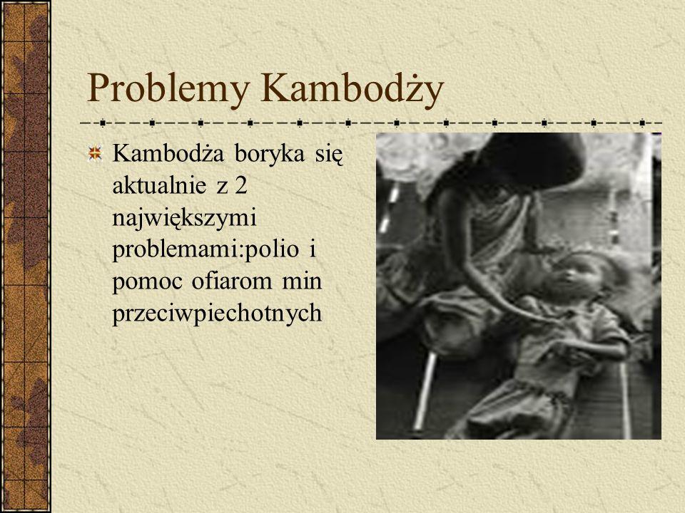 Problemy Kambodży Kambodża boryka się aktualnie z 2 największymi problemami:polio i pomoc ofiarom min przeciwpiechotnych