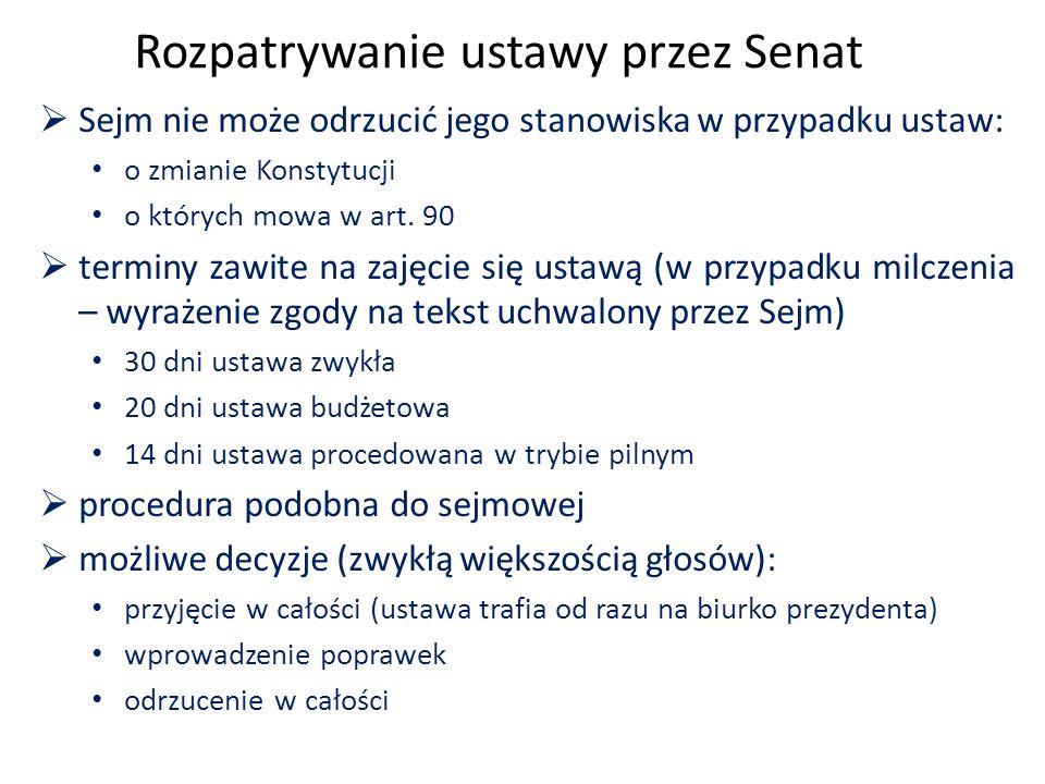 Rozpatrywanie ustawy przez Senat  Sejm nie może odrzucić jego stanowiska w przypadku ustaw: o zmianie Konstytucji o których mowa w art.