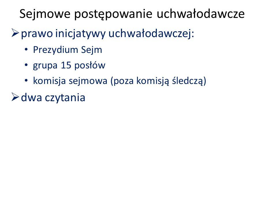 Sejmowe postępowanie uchwałodawcze  prawo inicjatywy uchwałodawczej: Prezydium Sejm grupa 15 posłów komisja sejmowa (poza komisją śledczą)  dwa czytania