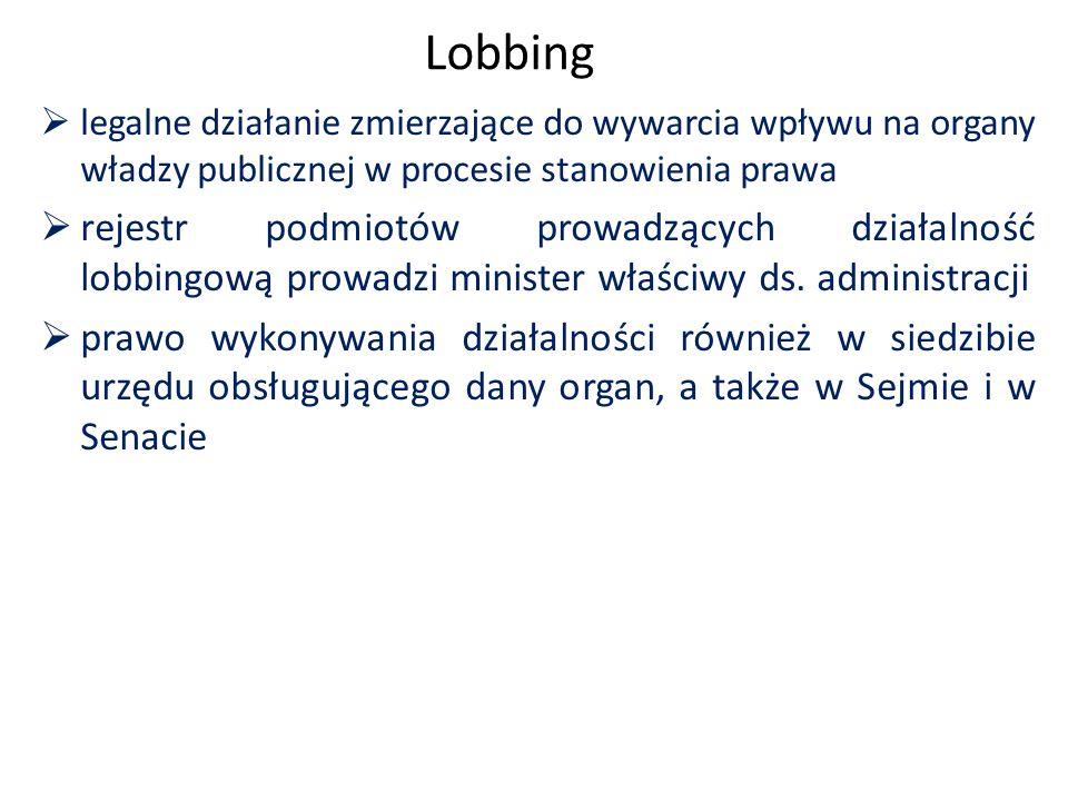 Lobbing  legalne działanie zmierzające do wywarcia wpływu na organy władzy publicznej w procesie stanowienia prawa  rejestr podmiotów prowadzących działalność lobbingową prowadzi minister właściwy ds.