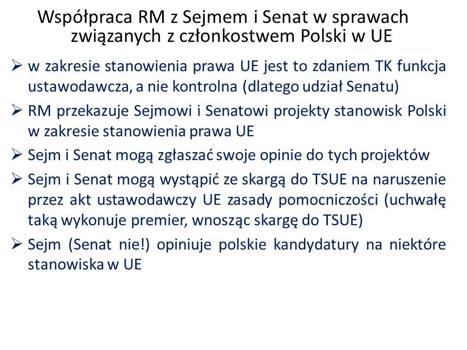 Współpraca RM z Sejmem i Senat w sprawach związanych z członkostwem Polski w UE  w zakresie stanowienia prawa UE jest to zdaniem TK funkcja ustawodawcza, a nie kontrolna (dlatego udział Senatu)  RM przekazuje Sejmowi i Senatowi projekty stanowisk Polski w zakresie stanowienia prawa UE  Sejm i Senat mogą zgłaszać swoje opinie do tych projektów  Sejm i Senat mogą wystąpić ze skargą do TSUE na naruszenie przez akt ustawodawczy UE zasady pomocniczości (uchwałę taką wykonuje premier, wnosząc skargę do TSUE)  Sejm (Senat nie!) opiniuje polskie kandydatury na niektóre stanowiska w UE