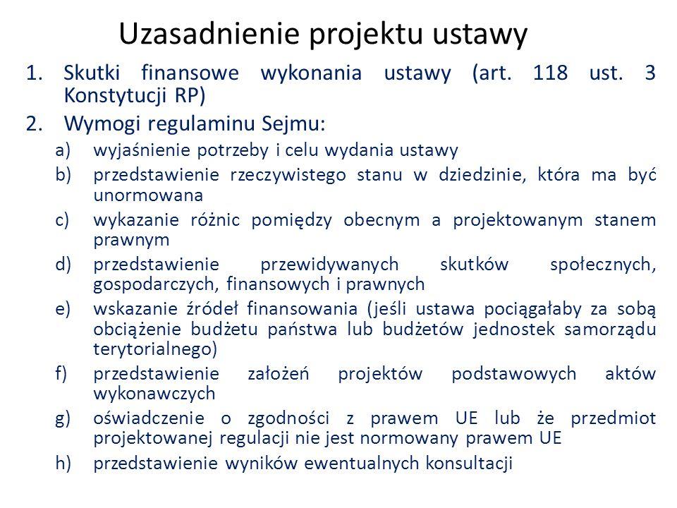 Uzasadnienie projektu ustawy 1.Skutki finansowe wykonania ustawy (art.