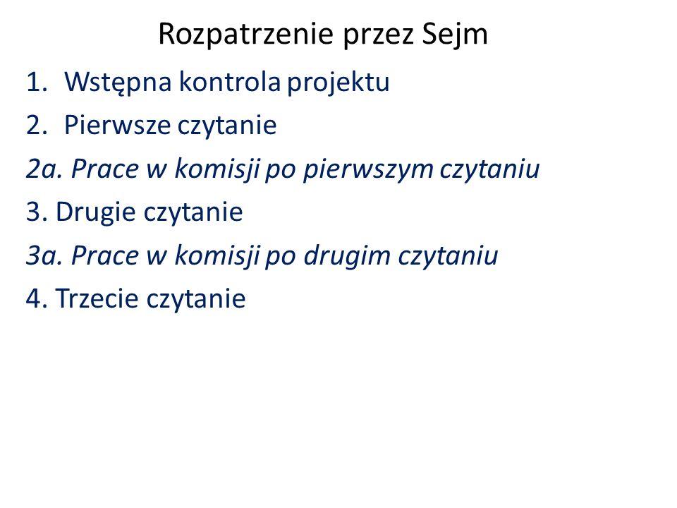Rozpatrzenie przez Sejm 1.Wstępna kontrola projektu 2.Pierwsze czytanie 2a.
