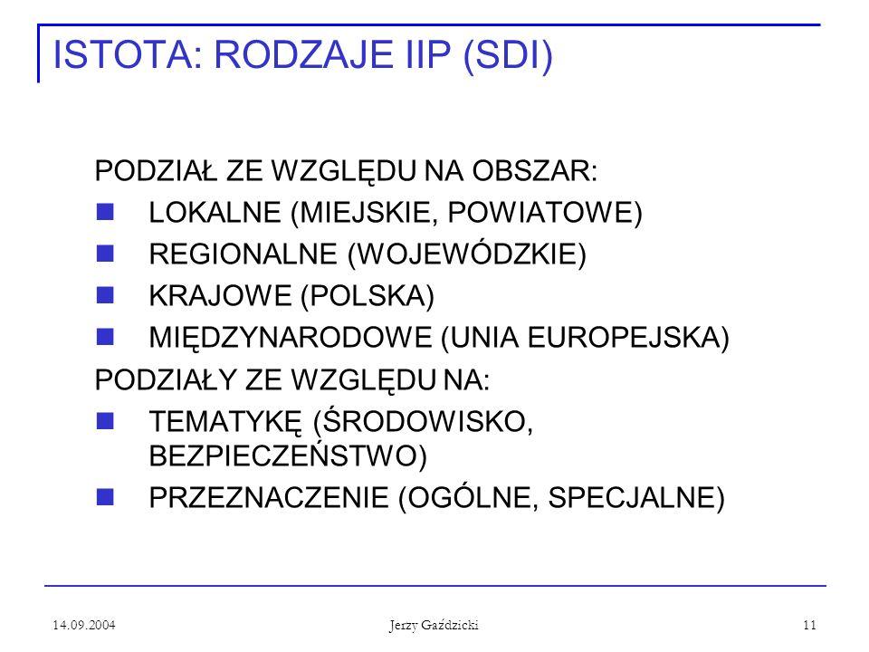 14.09.2004 Jerzy Gaździcki 11 ISTOTA: RODZAJE IIP (SDI) PODZIAŁ ZE WZGLĘDU NA OBSZAR: LOKALNE (MIEJSKIE, POWIATOWE) REGIONALNE (WOJEWÓDZKIE) KRAJOWE (