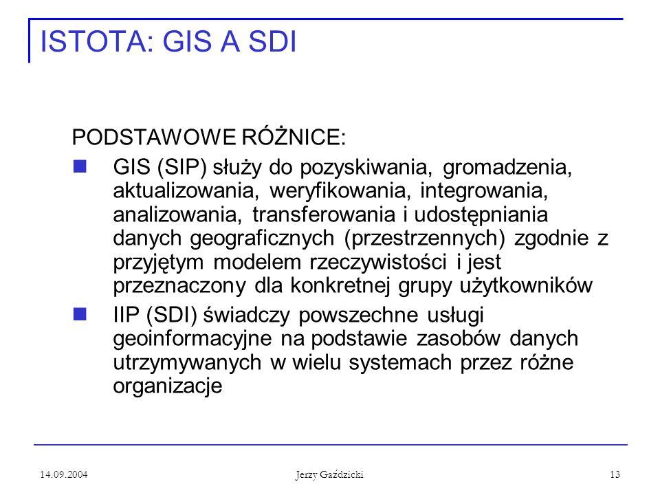 14.09.2004 Jerzy Gaździcki 13 ISTOTA: GIS A SDI PODSTAWOWE RÓŻNICE: GIS (SIP) służy do pozyskiwania, gromadzenia, aktualizowania, weryfikowania, integrowania, analizowania, transferowania i udostępniania danych geograficznych (przestrzennych) zgodnie z przyjętym modelem rzeczywistości i jest przeznaczony dla konkretnej grupy użytkowników IIP (SDI) świadczy powszechne usługi geoinformacyjne na podstawie zasobów danych utrzymywanych w wielu systemach przez różne organizacje