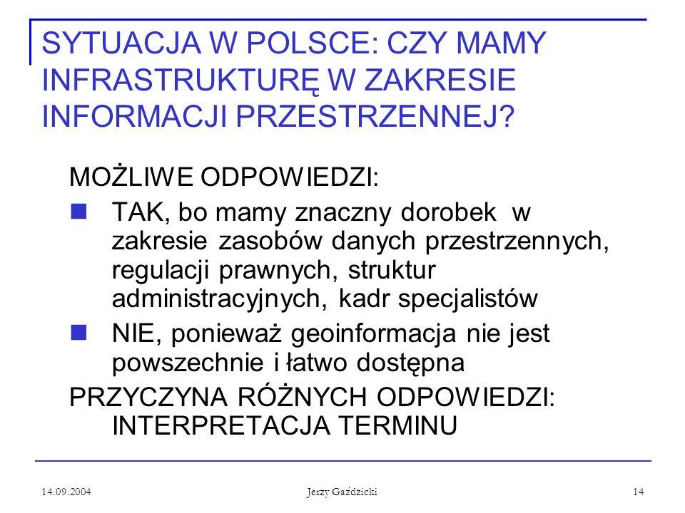 14.09.2004 Jerzy Gaździcki 14 SYTUACJA W POLSCE: CZY MAMY INFRASTRUKTURĘ W ZAKRESIE INFORMACJI PRZESTRZENNEJ? MOŻLIWE ODPOWIEDZI: TAK, bo mamy znaczny
